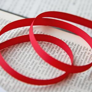 Репсовая лента, красный, ширина 9,5 мм...