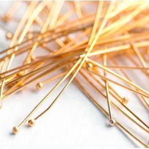 Пины-штифты с шариком, золотой, 50х0.6 мм (70 шт)...