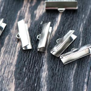 Зажим-концевик для ленты, платина, 20х4 мм...