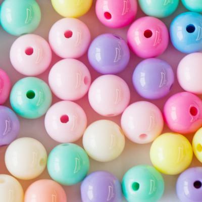 Бусина акриловая круглая, разные цвета в асс., 12 мм