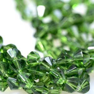 Бусина биконус стеклянная, зеленый, 8 мм...