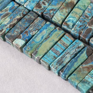 Бусина яшма океанская кирпичик, цветовой микс, 31-33x8-...