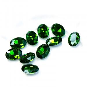 Кабошон стеклянный с гранями, овал, насыщенно-зеленый, ...