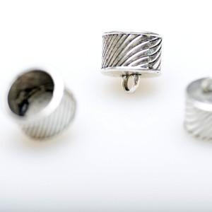 Концевик для шнура, ант. серебро, 16x11 мм...