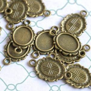 Коннектор-сеттинг 1-1 отв, античная бронза, 21x12x2 мм...