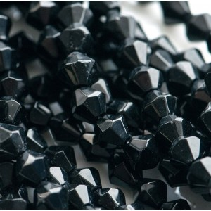 Бусина биконус стеклянная, черный, 6 мм...