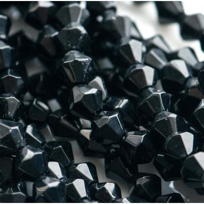 Бусина биконус стеклянная, черный, 6 мм