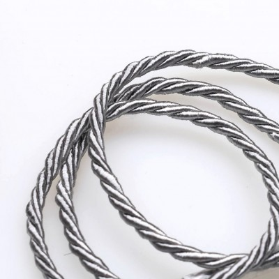 Витой полиэстеровый шнур, серебристо-серый, 3,5 мм