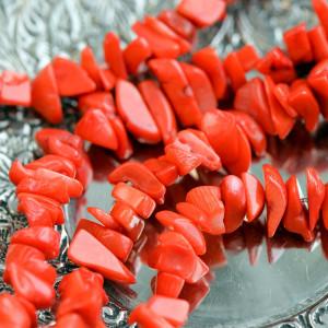 Бусина им. коралла осколки, цвет красный, колорир., 3-1...