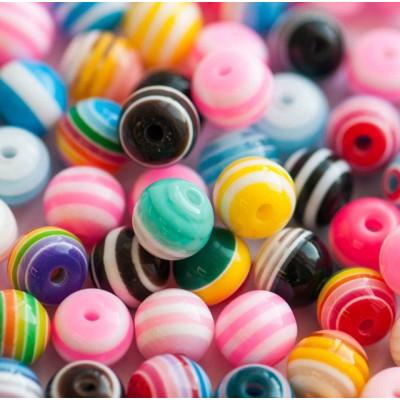 Бусина акриловая круглая, разные цвета в асс., 8 мм