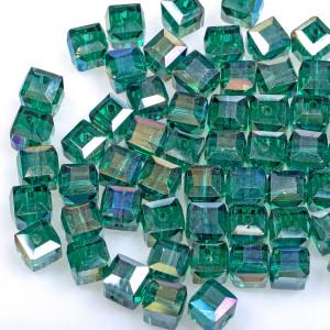 Бусина стеклянная граненая, зелено-голубые, 8х8 мм...
