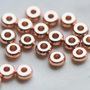 Разделитель-бусина, цвет розовое золото, 4x1,5 мм...