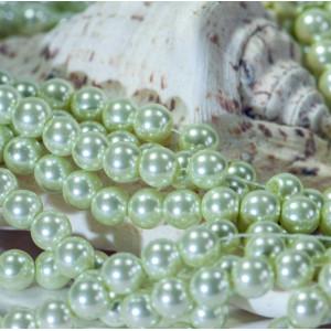 Бусина стеклянный жемчуг, бледно-зеленый, 10 мм...