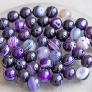 Бусины агата, цвет фиолетовый, окрашен., 8 мм...