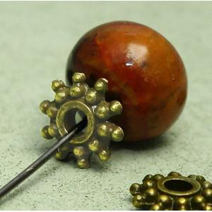 Разделитель-рондель для бусин, античное золото, 8х2 мм...