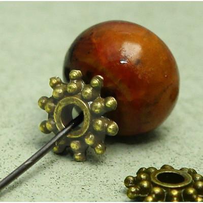 Разделитель-рондель для бусин, античное золото, 8х2 мм