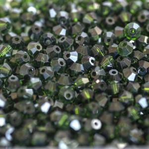 Бусина биконус стеклянная, зеленый, 4,5 мм (уп 30шт)...