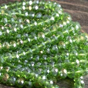 Бусина абакус стеклянная граненая, светлый зеленый, 8х5...