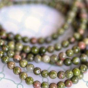 Бусина унакит 4, цвет зелено-коричневый, 4 мм...