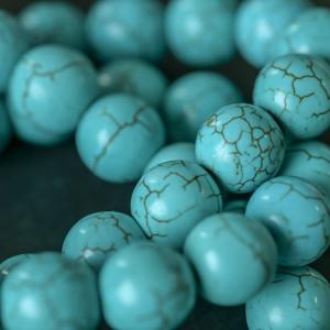 Бусина говлит, круглая, цвет голубой с прожилками, 12 м...