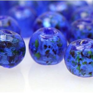 Бусина круглая стеклянная фольгированная, синий, 12 мм...
