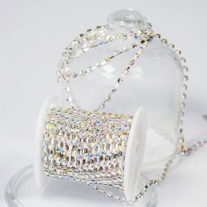 Цепочка для бижутерии со стразами, цвет Cristal АВ/сере...