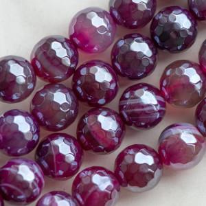 Граненые бусины агата, цвет малиновый, 10 мм...