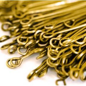 Пины-штифты с петлей, золото, 50х0.7 мм (150 шт)...