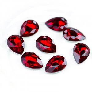 Кабошон стеклянный с гранями, капля, красный, 18х13 мм...