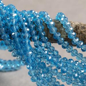 Бусина абакус стеклянная граненая, небесно-голубой перл...
