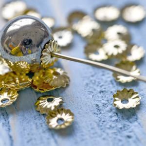 Чашечка (шапочка) для бусин, цв. золотой, 5х1,5 мм (50 ...
