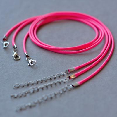 Основа для ожерелья, вощеный шнур, малиновый, 450х2 мм