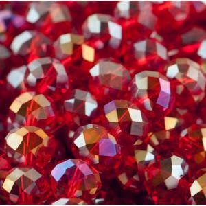 Бусина абакус стеклянная граненая, красный АВ, 10х7 мм...
