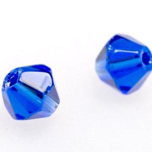 Бусина биконус стеклянная, синий, 4 мм (уп 30шт)...
