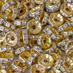 Разделитель со стразами, цвет металла золото, 10 мм...