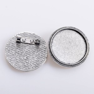 Заготовка для броши, круглая, античное серебро, 42x2 мм...
