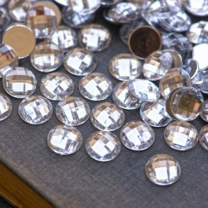 Кабошон акрил, круглый, прозрачный, 14х5 мм...