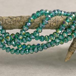Бусина абакус стеклянная граненая, сине-зеленый радужны...