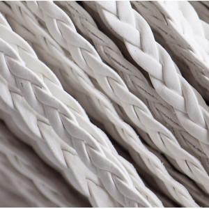 Шнур-косичка из искусственной кожи, белый, 5х2 мм...