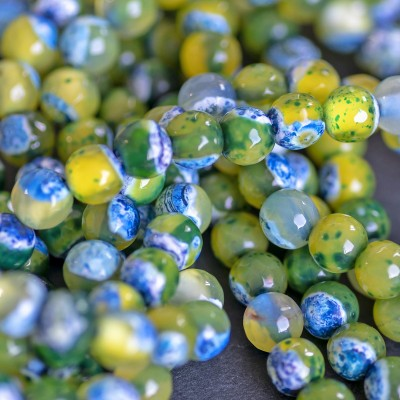 Бусина агат 10, граненая, цвет зелено-голубой, колорир.,6 мм