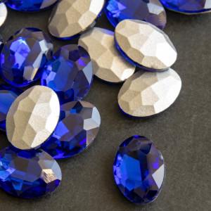Кабошон с гранями, овал, цвет синий, 18х13 мм...