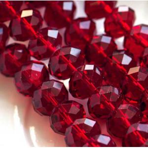 Бусина абакус стеклянная граненая, красный, 14х10 мм...