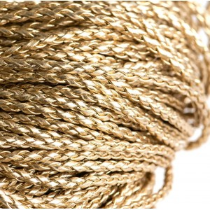 Шнур плетеный, из искусственной кожи, золотой, 3 мм...