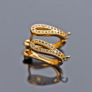 Швензы (основы для сережек), с кристаллами,  цвет золот...