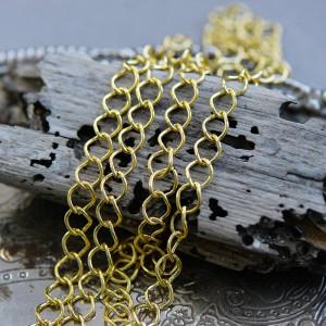 Цепочка для бижутерии, цвет - золото, размер 9х7х1.5 мм...