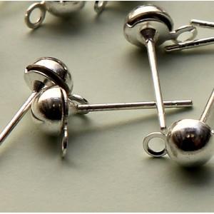 Пуссеты-гвоздики, серебро, 12х4,5 мм...
