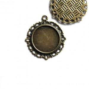 Сеттинг круглый с местом под кабошон, античная бронза, ...