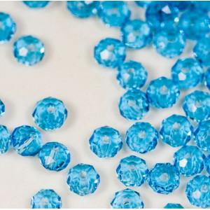 Бусина абакус стеклянная граненая, голубой, 3.5х2.5 мм ...