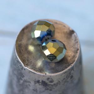 Бусина абакус стеклянная граненая, сине-зеленый, 10х7,5...