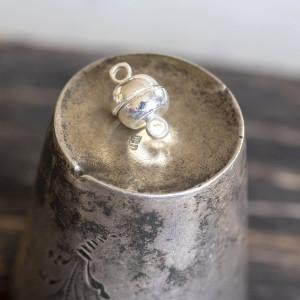 Застежка магнитная круглая, цв. серебро, 12х7 мм...